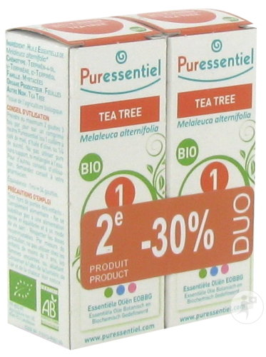 Puressentiel Duo Tea Tree Essentiële Oliën Bio Flessen 2x10ml