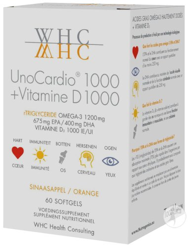 WHC UnoCardio 1000 + Vitamine D 1000 Softgels 60