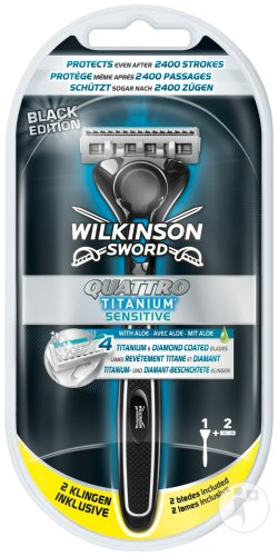 Wilkinson Quattro Titanium Sensitive Black Edition 1 Rasierapparat + 2 Mesje